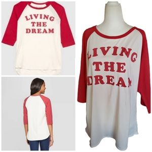 Junk Food | Living the Dream Baseball Raglan Tee